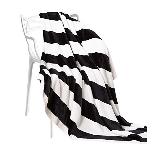 Halloween Black N White (NTBAY Flannel Throw Blankets Super Soft with Black and White Stripe (51