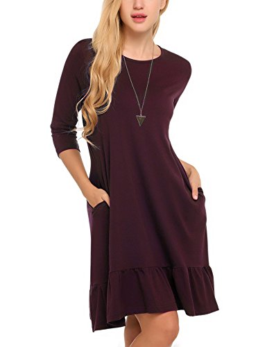 A Midi 3 3 Sleeve Red Hotouch Dress wine 4 and Line Women's Flare Long w8BwqI