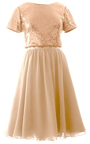 Sleeves Gold Bridesmaid Cap Chiffon Sequin Rose Two Formal Piece Dress MACloth Gown Short HW5qSSx