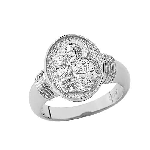 Certfied 14k White Gold Catholic Saint St Joseph and Child Jesus Protection Oval Ring (Size 9.25)