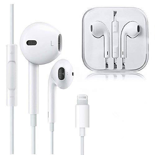 Apple MFI Certified Lightning Ear Buds, Corded Headsets Built-in Microphone Noise-Isolating Earpods, Headphones Made for iPhone Xs, Xs MAX, Xr, X, 8/7 & Plus, iPad (White)