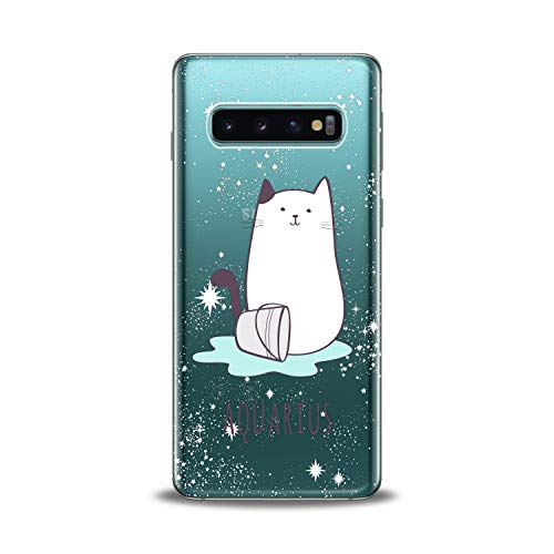 Lex Altern TPU Case for Samsung Galaxy s10 5G Plus 10e Note 9 s9 s8 s7 Clear Zodiac Aquarius Sign Cute Cat Watercolor Astrology Phone Cover Constellation Soft Print Protective Girls Women Star Trend