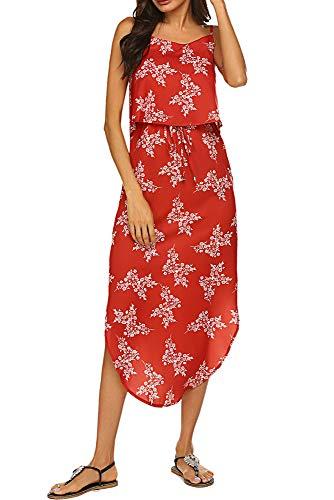 Floral Sundresses for Women Sleeveless Midi Floral Beach Chiffon Dress (XXL, Red)