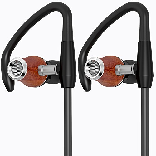 Symphonized NRG S Genuine Wood Bluetooth Earbuds, Wireless In-ear Noise-isolating Headphones, Earphones with Angle-Fit Ear Tips, Comfort Neckband, Mic, Volume Control - (Hands Free Gold Plated Telephone)