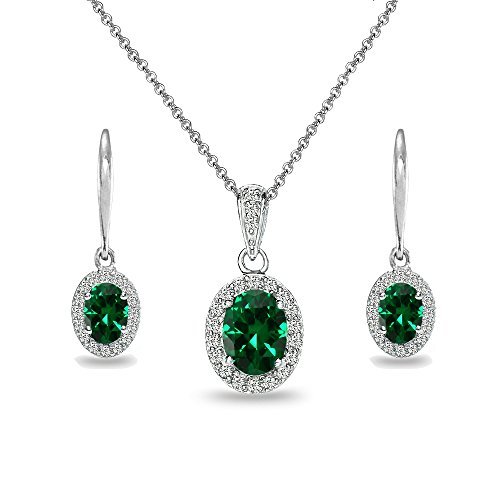 Emerald Oval Pendant Sterling Silver - Sterling Silver Simulated Emerald & White Topaz Oval Halo Necklace & Leverback Earrings Set