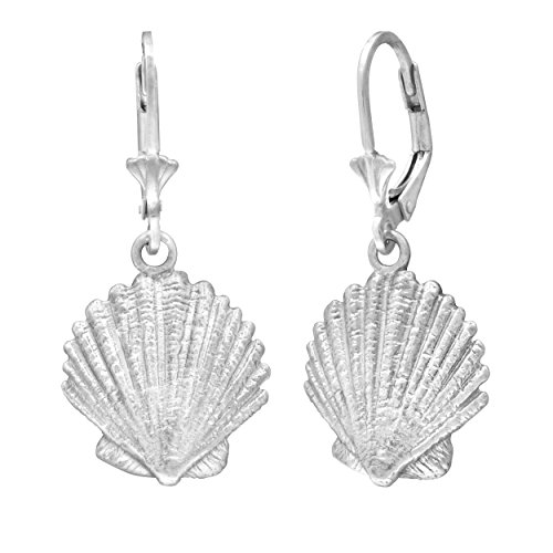 Sterling Silver Seashell Leverback Earrings