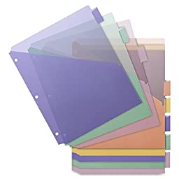 Business Source Poly Index Dividers Double Pocket