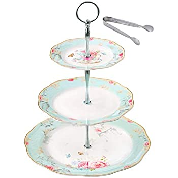 Jusalpha Light Blue 3-tier Ceramic Cake Stand- Cupcake Stand- Tea Party Pastry Serving Platter Comes In a Gift Box- Free Sugar Tong (FD-QD3T) (Blue, 1 Set)