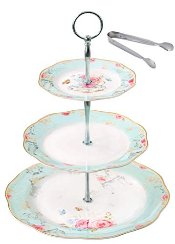 Jusalpha Light Blue 3-tier Ceramic Cake Stand- Cupcake Stand- Tea Party Pastry Serving Platter Comes In a Gift Box- Free Sugar Tong (FD-QD3T)