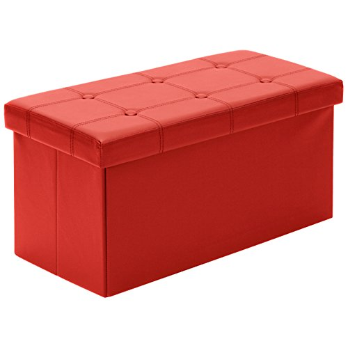 Best Choice Products Folding Storage Organizer Foot Rest Stool Seat Padded Ottoman Bench w 200lbs Weight Capacity for Living Room, Bedroom – Red