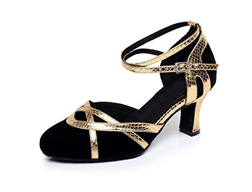 Tango QJ7043 Pumps Salsa Toe MINITOO Ladies Latin Gold Suede Dance Round 0wOz7qxz