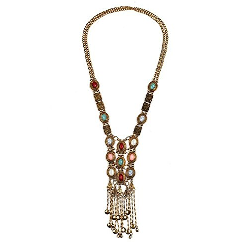 [Women's Vintage Silver Gold Tone Turquoise Long Bib Ethnic Tribal Boho Beads Fringe Statement Necklace Bohemian Jewelry (Antique] (Belly Dance Costumes Custom)