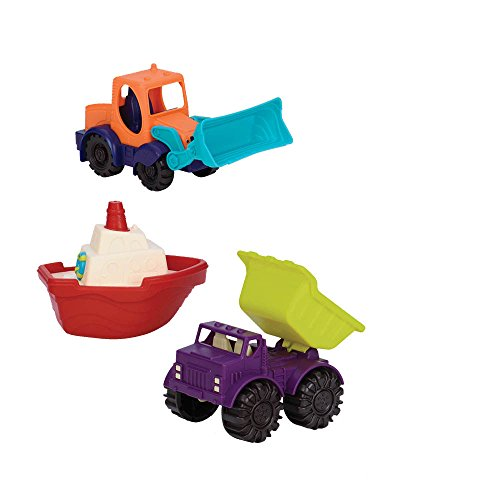 Toys Plastic Beach (B. Toys by Battat - (3- Pcs) Mini Toy Cars - Water & Sand Vehicles Beach Playset for Kids 18 Months+)
