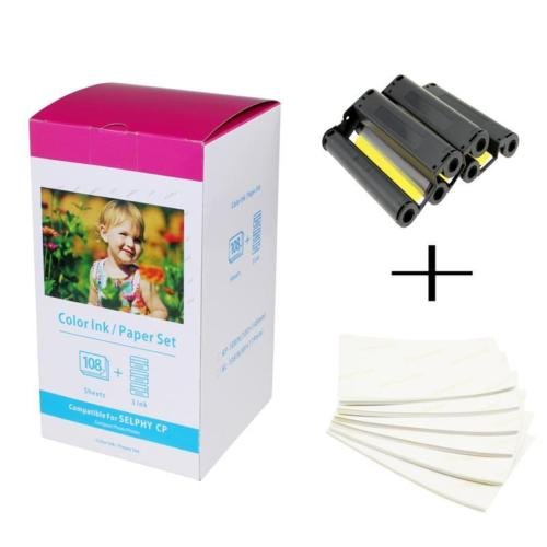 (AMTONER 1 Pack Compatible Canon KP-108IN KP108 3 Color Ink Cartridges and 108 Sheets Paper Set 4