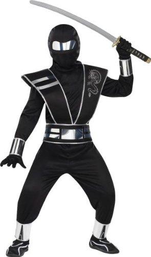Silver Mirror Ninja Child Costumes (Morris Costumes Silver Mirror Ninja Chld Lg 12)