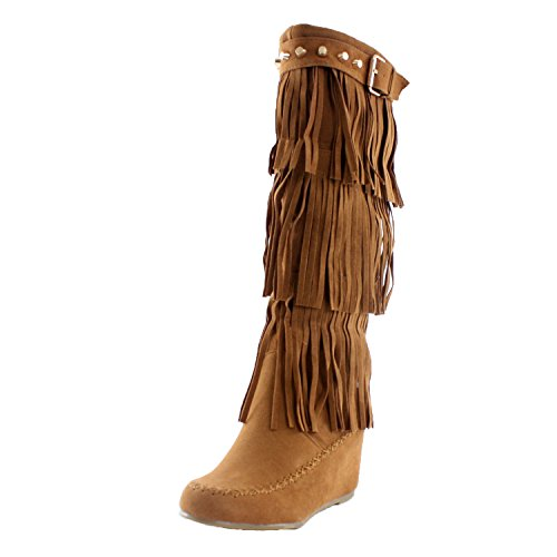 Nature Breeze Womens Bridget Knee High Moc-Toe Wedge Boots Tan Suede