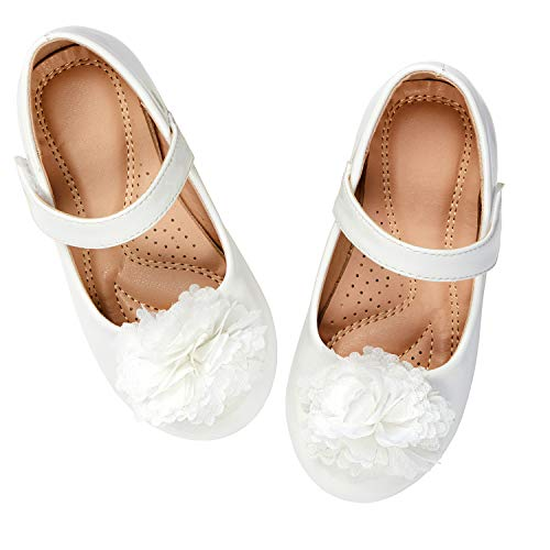 Flower Girls Shoes White (ADAMUMU Dream Toddler Girls Dress Shoes Ballet Flats Flower Girls Shoes Glitter Shoes Party School Dress Shoes Even Daily Wear, E-white, 13M US Little)