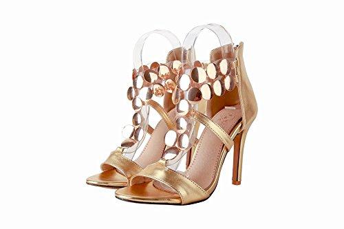 Mee Shoes Damen high heels Reißverschluss open toe Sandalen Gold