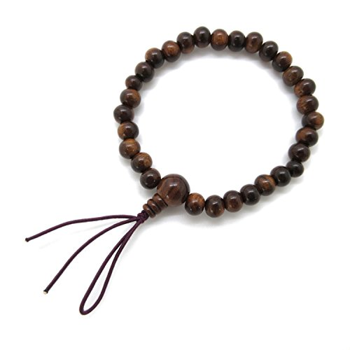 KYOTO ASAHIYA Sendan Wood Bracelet Japanese Juzu Polished Prayer Beads Asian Rosary Cool Zen Handmade Stretch Bracelet for Unisex Gift for he (8.0mm)