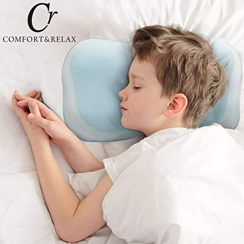CR COMFORT & RELAX Memory Foam Toddler Kids Baby Pillow with Pillowcase Cover Cool Gel Pad