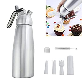 Professional Whipped Cream Dispenser Large 500ml/1 Pint Capacity Canister with 3 Various Nozzles, Cleaning Brush 40 HOME OR PROFESSIONAL: No more hand cramps from whipping, this whipped cream dispenser does all the work for you - just put a nitrous oxide cartridge (sold separately) into the dispenser, fill with heavy cream, screw the top and you are in business, an ideal whipped cream maker for home or professional use. DURABILITY AND SAFETY: The whipped cream dispenser's all-aluminum body and head are durable and safety to withstand daily use. The matte aluminum finish looks classic and provides a secure grip. PROFESSIONAL-QUALITY CREAM WHIPPER: Made of high quality commercial grade aluminum with stainless steel piston and reinforced aluminum threads for dispensing pretty clouds of whipped cream with different designs onto ice cream, cakes, pies, puddings and more.