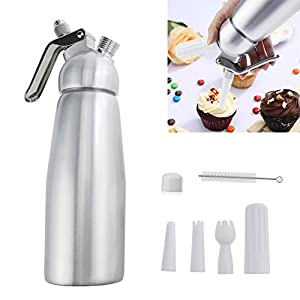 Professional Whipped Cream Dispenser Large 500ml/1 Pint Capacity Canister with 3 Various Nozzles, Cleaning Brush 13 HOME OR PROFESSIONAL: No more hand cramps from whipping, this whipped cream dispenser does all the work for you - just put a nitrous oxide cartridge (sold separately) into the dispenser, fill with heavy cream, screw the top and you are in business, an ideal whipped cream maker for home or professional use. DURABILITY AND SAFETY: The whipped cream dispenser's all-aluminum body and head are durable and safety to withstand daily use. The matte aluminum finish looks classic and provides a secure grip. PROFESSIONAL-QUALITY CREAM WHIPPER: Made of high quality commercial grade aluminum with stainless steel piston and reinforced aluminum threads for dispensing pretty clouds of whipped cream with different designs onto ice cream, cakes, pies, puddings and more.