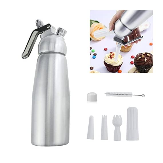 Professional Whipped Cream Dispenser Large 500ml/1 Pint Capacity Canister with 3 Various Nozzles, Cleaning Brush 1 HOME OR PROFESSIONAL: No more hand cramps from whipping, this whipped cream dispenser does all the work for you - just put a nitrous oxide cartridge (sold separately) into the dispenser, fill with heavy cream, screw the top and you are in business, an ideal whipped cream maker for home or professional use. DURABILITY AND SAFETY: The whipped cream dispenser's all-aluminum body and head are durable and safety to withstand daily use. The matte aluminum finish looks classic and provides a secure grip. PROFESSIONAL-QUALITY CREAM WHIPPER: Made of high quality commercial grade aluminum with stainless steel piston and reinforced aluminum threads for dispensing pretty clouds of whipped cream with different designs onto ice cream, cakes, pies, puddings and more.