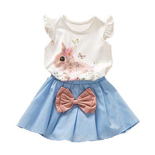 Toddler Kids Baby Girls Easter Outfits Rabbit Vest Sleeveless Top +Tutu Skirt 2PCS Summer Clothes Set (Blue, 3-4Years)