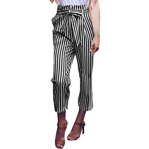ZEFOTIM Womens Belted High Waist Trousers Ladies Party Casual Pants(F-Black,XX-Large) ()