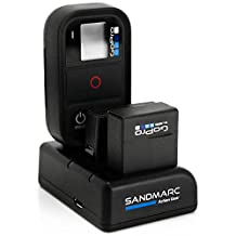 SANDMARC® Procharge: Triple Charger for GoPro Hero 4, 3+, 3 and Wifi Remote with 1 x included Battery for GoPro Hero 4 (Hero 4 / 3+ / Remote)