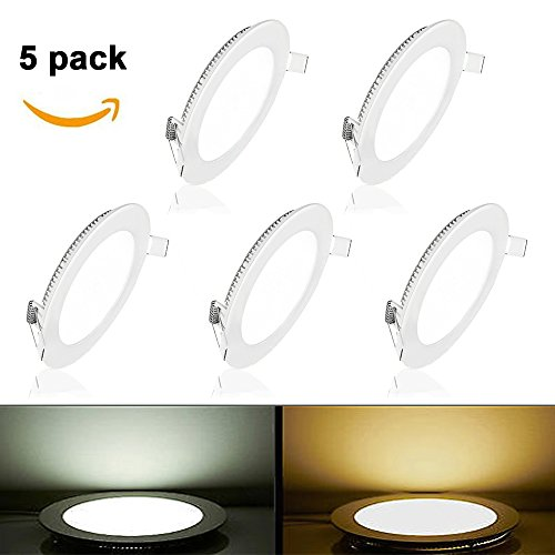Price comparison product image Pocketman 5 Pack Round Ultrathin 12W 6-inch Flat LED Recessed Panel Ceiling Light,850lumens,Warm White,AC85-265V,for Home, Office, Commercial Lighting