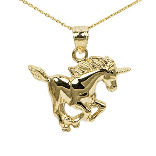 14k Yellow Gold Unicorn Pendant (Unicorn Gold Charm 14k Yellow)