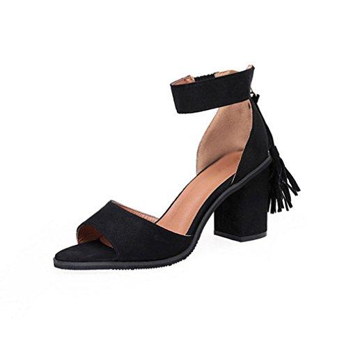 color sólido de la borla de la palabra cabeza de pescado zapatos de la hebilla de las sandalias de la mujer salvaje Black