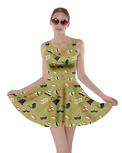 Style Skater 5XL Japanese Dress Dragon Fuji Goldfish Womens Japan Fan Pattern Olive Sushi CowCow XS aEwS4qq