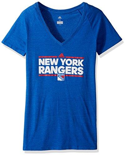 Rangers Womens V-neck - adidas NHL New York Rangers Womens Team Dazzler Women's Tri-Blend V-Neck Teeteam Dazzler Women's Tri-Blend V-Neck Tee, Collegiate Royal Heathered, Large