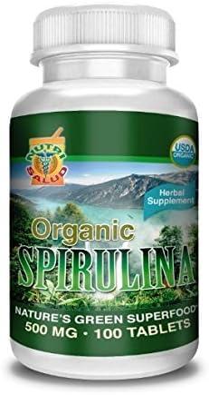 Spirulina Organica 100 Tabletas 500MG, Alga spirulina 100 Natural, combate Anemia, Regula niveles de azucar, Reduce colesterol, 100 pura y org nica.