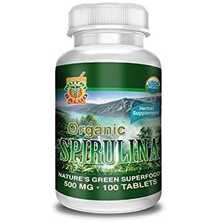 Spirulina Organica 100 Tabletas 500MG, alga spirulina 100% natural, combate anemia, regula