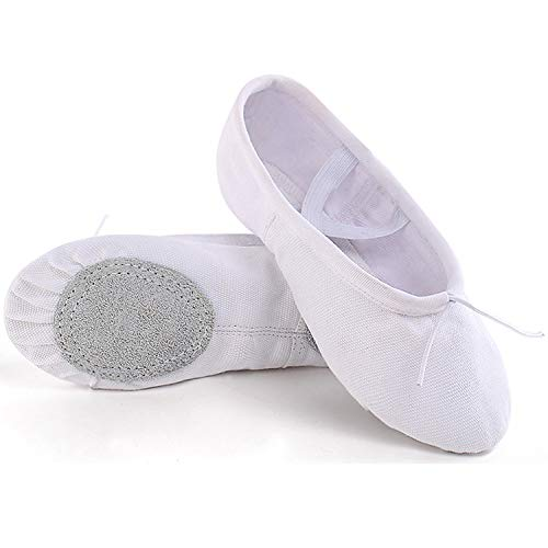 (Koolen Ballet Shoes, Canvas Upper & Leather Sole Ballet Slippers, Ballet Dance Shoes for Girls (Toddler/Little Kid/Big Kid/Women) White)