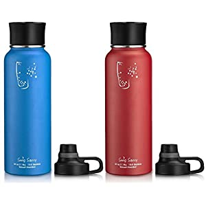Swig Savvy BPA-Free Leak-Proof Stainless Steel Wide Mouth Insulated Water Bottle with Interchangeable Caps, 40 oz, Red/Blue