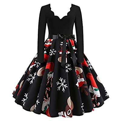 Muranba Womens Dresses Long Sleeve Christmas Musical Notes Print Vintage Flare Dress