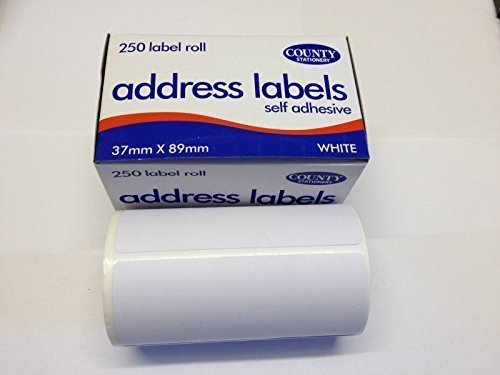 250 Self Adhesive Address Labels on Continuous Roll 89mm x 37mm County Stationery
