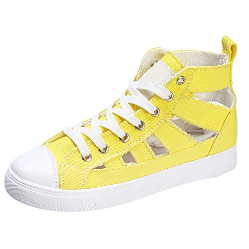 Pongfunsy Women's Single Shoes 2019 Summer New Flats Sandals Fashion Cross-Strap Sport Shoes Casual Breathable Sneaker Yellow