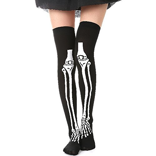 Halloween Blood Stained White Stockings and Skeleton Over Knee Socks (Black) (Halloween Costume Tumblr Girl)