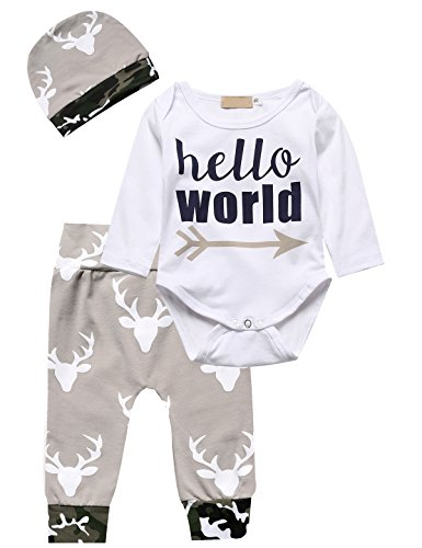 Truly One 3pcs Outfit Baby Boys' Hello World Bodysuit Pant Clothing Set with Hat (0-6 Months, White) by Truly One