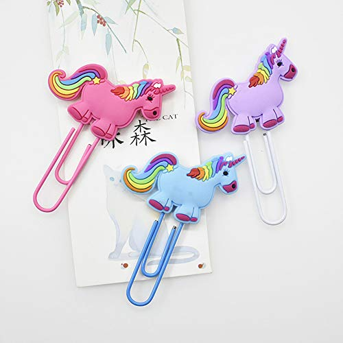 DHmart 3Pcs/lot Creative Unicorn Bookmark Cute Kawaii Book Markers Paper Clip Kids Gift Korean Stationery Student