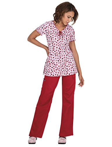 koi Prints Women's Bridgette V-Neck Heart Print Scrub Top X-Large Print