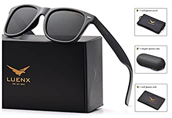 Mens Wayfarer Polarized Sunglasses for Womens UV 400 Protection Black Lens Glossy Black Frame 54MM,by LUENX with Case