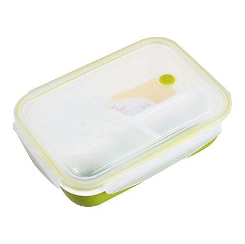 Vinmax Bento Lunch Box Rectangulaire 4 Compartiments Anti-fuite pour Enfants et Adultes Boîte Alimentaire Passe au Micro-ondes - Vert