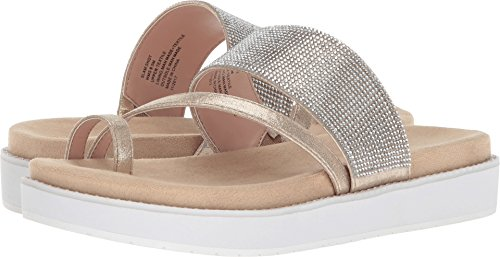 Kenneth Cole REACTION Women's Slam Shot Toe Ring and Micro-Jewel Strap Flat Sandal, Soft Gold, 7.5 M US