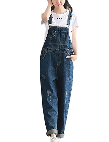 Flygo Women's Casual Distressed Bib Denim Overalls Loose Pant Jeans Jumpsuits with Pockets (US 10, Blue)